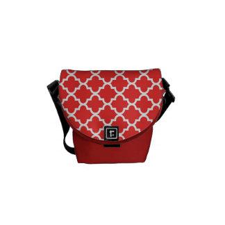 Moroccan brick red tile pattern trendy messenger bags