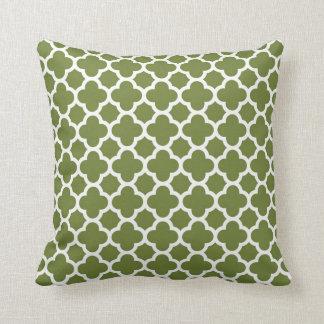 Moroccan Clover Quatrefoil in Avocado Green White Cushion