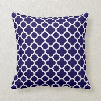 Moroccan Clover Quatrefoil in Cobalt Blue White Cushion