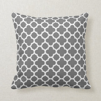 Moroccan Clover Quatrefoil in Grey and White Cushion