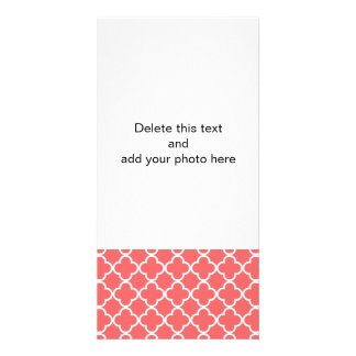 Moroccan Coral White Quatrefoil Pattern Photo Greeting Card