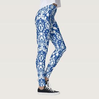 Moroccan Elegant Blue and White Casbah Leggings