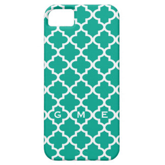 Moroccan emerald green tile design 3 monogram iPhone 5 cover