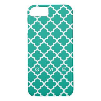 Moroccan emerald green tile design 3 monogram iPhone 7 case