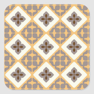 Moroccan Floral Tile Pattern Apricot Mauve Square Sticker
