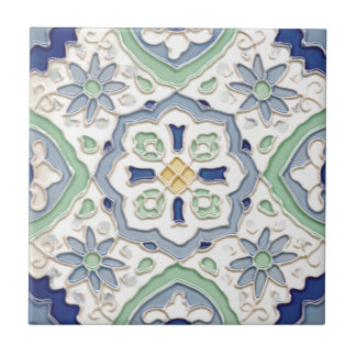 Moroccan Green and Blue Print Tile