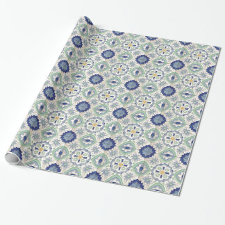 Moroccan Green and Blue Print Wrapping Paper