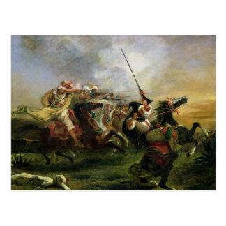 Moroccan horsemen in military action, 1832 postcard
