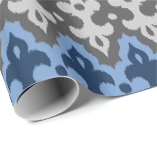 Moroccan Ikat Damask, Blue and Gray / Grey Wrapping Paper