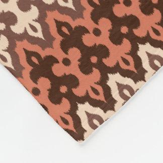 Moroccan Ikat Damask, Brown, Taupe & Rust Fleece Blanket
