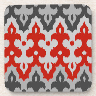Moroccan Ikat Damask, Graphite Gray and Red Coaster