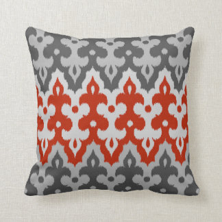 Moroccan Ikat Damask, Graphite Gray and Red Cushion