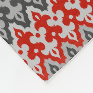 Moroccan Ikat Damask, Graphite Gray and Red Fleece Blanket