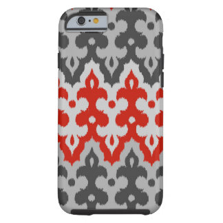 Moroccan Ikat Damask, Graphite Gray and Red Tough iPhone 6 Case