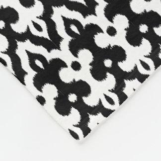 Moroccan Ikat Damask Pattern, Black and White Fleece Blanket