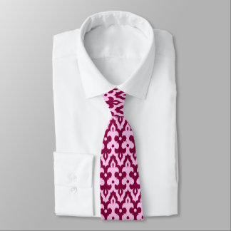 Moroccan Ikat Damask Pattern, Burgundy and Pink Tie