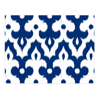 Moroccan Ikat Damask Pattern, Cobalt Blue & White Postcard