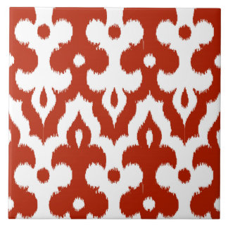 Moroccan Ikat Damask Pattern, Deep Red and White Tile