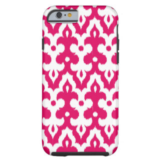 Moroccan Ikat Damask Pattern, Fuchsia Pink & White Tough iPhone 6 Case