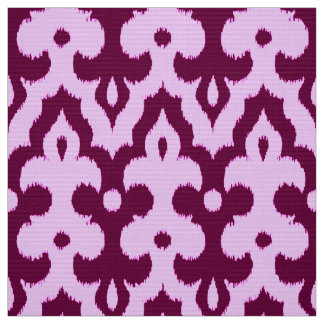Moroccan Ikat Damask Pattern, Plum and Orchid Fabric
