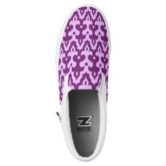 Moroccan Ikat Damask Pattern, Plum and Orchid Slip-On Shoes