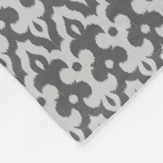 Moroccan Ikat Damask Pattern, Silver Gray / Grey Fleece Blanket