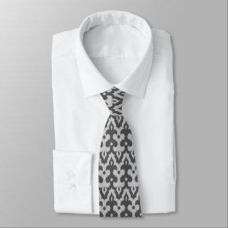 Moroccan Ikat Damask Pattern, Silver Gray / Grey Tie