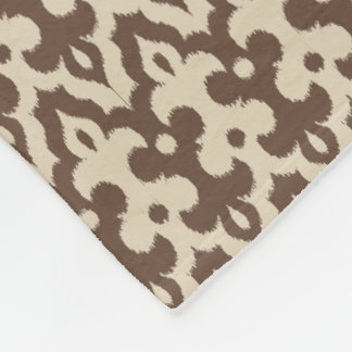 Moroccan Ikat Damask Pattern, Taupe and Beige Fleece Blanket