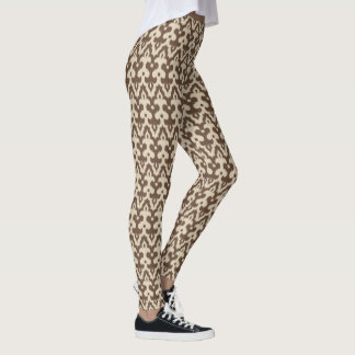 Moroccan Ikat Damask Pattern, Taupe and Beige Leggings