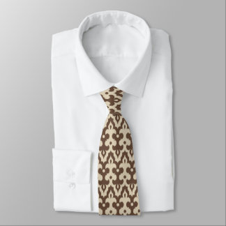 Moroccan Ikat Damask Pattern, Taupe and Beige Tie