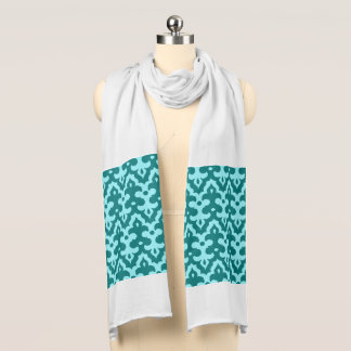 Moroccan Ikat Damask Pattern, Turquoise and Aqua Scarf