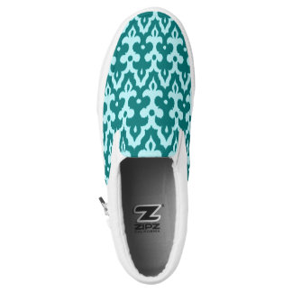 Moroccan Ikat Damask Pattern, Turquoise and Aqua Slip-On Shoes