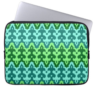 Moroccan Ikat Damask, Turquoise & Jade Green Laptop Sleeve