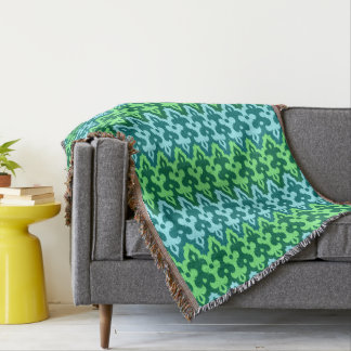 Moroccan Ikat Damask, Turquoise & Jade Green Throw Blanket