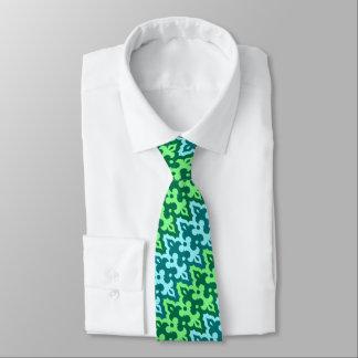 Moroccan Ikat Damask, Turquoise & Jade Green Tie