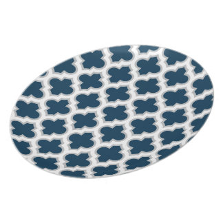 Moroccan Lattice Navy Blue and Gray Melamine Plate