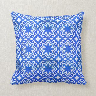Moroccan Ocean Blue tile pattern Cushion