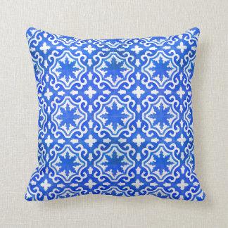 Moroccan Ocean Blue tile pattern Throw Pillow