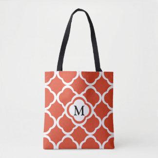 Moroccan Orange Quatrefoil Lattice Monogram Tote Bag