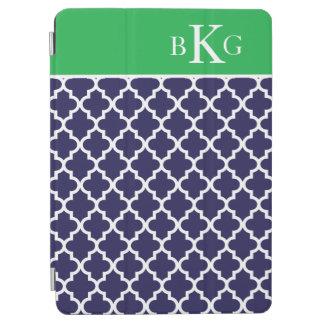 Moroccan Pattern Custom Monogram Navy Kelly Green iPad Air Cover