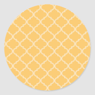 Moroccan Pattern | Yellow Classic Round Sticker