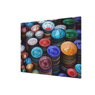 Moroccan Plates At Market Canvas Print