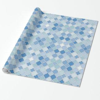 Moroccan Quatrefoil Blue Azure Cerulean Cornflower Wrapping Paper