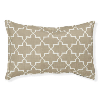 Moroccan Quatrefoil Dog Bed, Beige/White Pet Bed