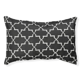 Moroccan Quatrefoil Dog Bed, Black/White