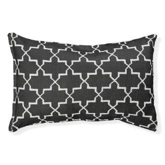 Moroccan Quatrefoil Dog Bed, Black/White Pet Bed