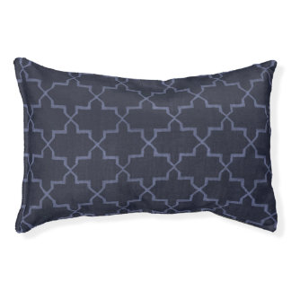 Moroccan Quatrefoil Dog Bed, Dark Navy Blue
