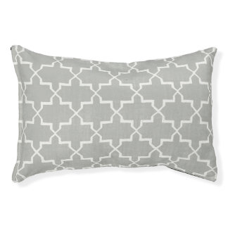Moroccan Quatrefoil Dog Bed, Gray/White