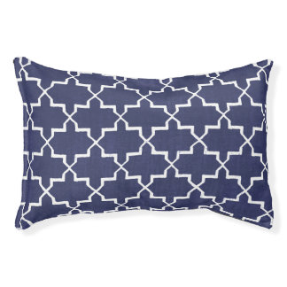 Moroccan Quatrefoil Dog Bed, Navy/White