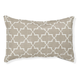 Moroccan Quatrefoil Dog Bed, Taupe/White Pet Bed